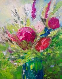 Blumenstrauß, Vase, Blumen, Malerei