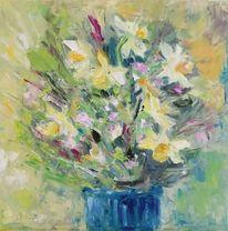 Blumen, Vase, Osterglocken, Frühling