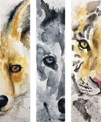 Fuchs, Aquarellmalerei, Tiger, Lesezeichen