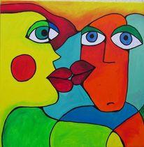 Blau, Acrylmalerei, Grün, Menschen