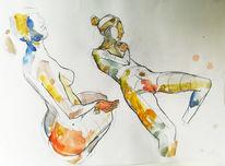 Malerei, Figur, Menschen, Aquarell