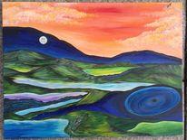 Acryl auf leinwand, Surreal, Bucht, Farben