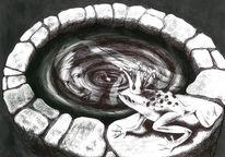 Frosch, Brunnen, Kugelschreiber, Wasser