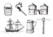 Tor, Federzeichnung, Krug, Geschichte