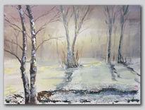Landschaft, Baum, Winter, Acrylmalerei