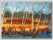 Acrylmalerei, Wald, Landschaft, Stimmung