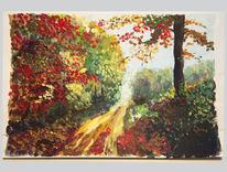 Herbst, Blätter, Malerei, Wald