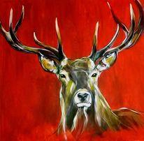 Hirsch, Acrylmalerei, Geweih, Tiere