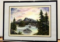 Acrylmalerei, Licht, Fluss, Berge