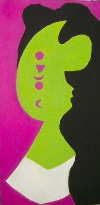 Mann, Modern, Grün, Temperamalerei