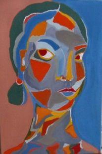 Abstrakt, Mädchen, Temperamalerei, Frau