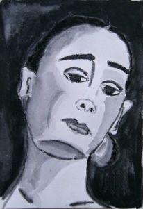 Frau, Portrait, Schwarz, Aquarell