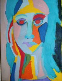 Portrait, Temperamalerei, Mädchen, Bunt