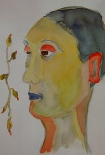 Bunt, Grün, Portrait, Gelb