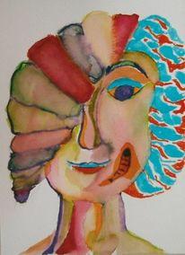 Frau, Portrait, Bunt, Expressionismus