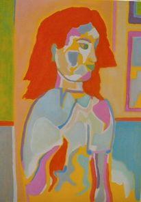 Frau, Portrait, Bunt, Temperamalerei