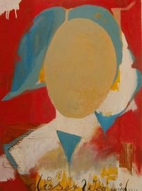 Portrait, Temperamalerei, Abstrakt, Malerei
