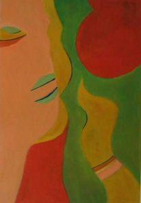 Geheimnis, Portrait, Hand, Malerei