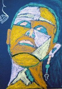 Gelb, Portrait, Blau, Bunt
