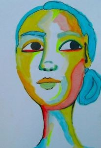 Aquarellmalerei, Frau, Blau, Mädchen