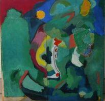Mischtechnik, Grün, Modern, Collage