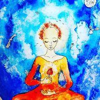 Geist, Meditation, Blätter, Aquarellmalerei