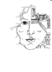 Selbstportrait, Schwarz, Weiß, Zeichnungen