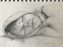 Schlafendes mädchen, Schlaf, Bleistiftzeichnung, Portrait