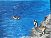Stein, Frackträger, Pinguin, Blau