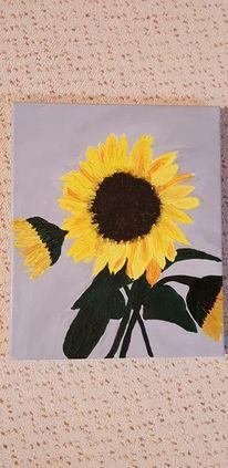 Acrylmalerei, Pflanzen, Sonnenblumen, Malerei