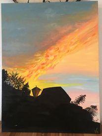 Landschaft, Sonnenuntergang, Schatten, Leuchtende farben