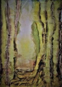 Sonne, Baum, Landschaft, Aquarellmalerei