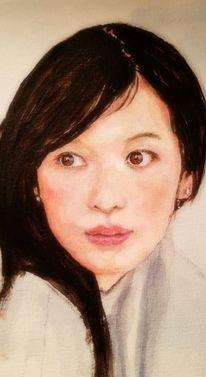 Frau, Gesicht, Augen, Malerei