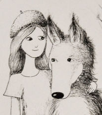 Wolf, Weiß, Mädchen, Rotkäppchen