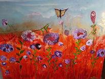 Blumenwiese, Schmetterling, Rot, Frosch