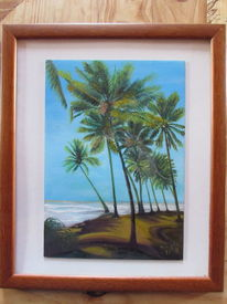 Ölmalerei, Meer, Palmen, Wasser