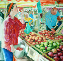 Markt, Apfel, Obst, Sommer