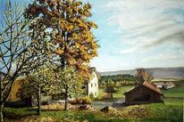 Bauernhof, Sonne, Blätter, Herbst