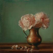 Ölmalerei, Stillleben, Pfingstrosen, Malerei
