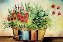 Malerei, Aquarellmalerei, Aquarell auf papier, Blumen