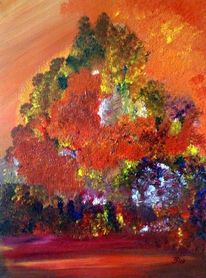 Herbst, Acrylmalerei, Spachteltechnik, Malerei