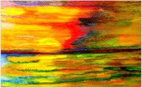 Sonnenuntergang, Fehmarn, Aquarellmalerei, Aquarell