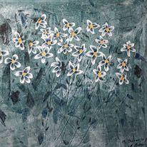 Modern art, Blumen, Farben, Mischtechnik