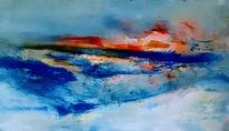 Blau, Rot, Abstrakt, Malerei
