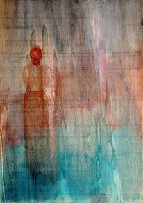 Frau, Allein, Holz, Malerei