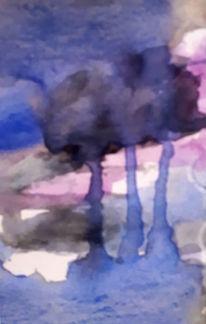 Natur, Baum, Aquarellmalerei, Malerei