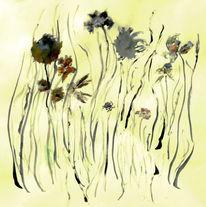 Wiese, Pflanzen, Blumen, Malerei