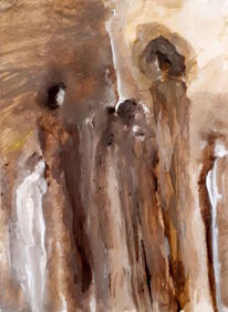 Mutter, Kinder, Braun, Malerei