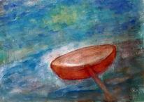 Weiher, Wasser, Kahn, Malerei