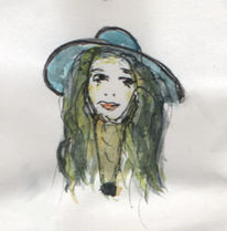 Portrait, Mädchen, Hut, Aquarell